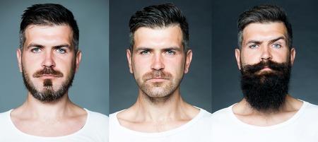 Bärtiger Mann oder Hipster-Set. Langer Bart. Frisur Friseur. Friseur Design. Werbe- und Friseurkonzept. Satz des Mannporträts. Standard-Bild