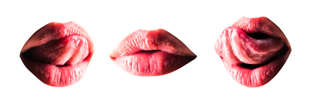 Sexy lip set. Womans mouth with sensual tongue close up with oil lipstick makeup expressing seduction. Lip Protection and healthy lips. Beauty sensual lips. Cosmetology concept.