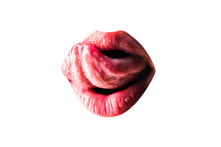 Sexy woman. Sexy female lips. Sensual tongue and sexy mouth. Sex education - BDSM kamasutra erotic woman secret and sex symbols concept. Orgasm. Talk sex - oral masturbate condom lubricants. Stockfoto - 107527008