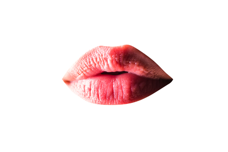 Perfect natural lip makeup.Natural oil lipstick. Closeup of beautiful woman healthy lips. Cosmetology, injections, collagen concept.Lips infected herpes virus. Woman with herpes virus. Reklamní fotografie