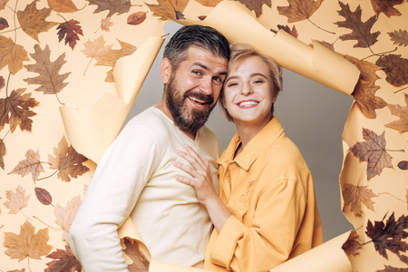 Happy autumn cuople. Autumn celebrate. Branding mockup. Logo for your. Autumn woman and young man. Happy family in Autumn. I love you very much. Online advertising.