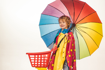 Black friday shopping. Happy cute clever boy. Child with color umbrella. Online advertising. Happy kid boy of 3 or 5 years having fun.
