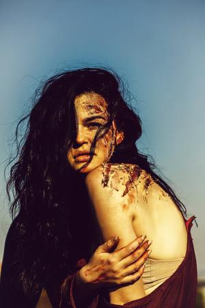Halloween zombie girl Banque d'images
