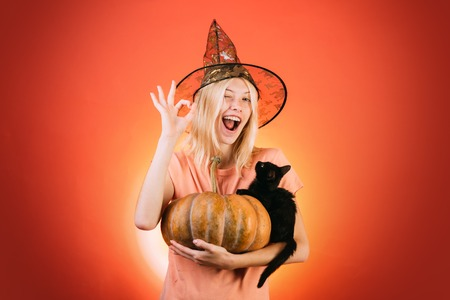 Witch with Pumpkin and black cat. Costumes and witch hats. Advertisement Halloween concept with isolated girl stickers. Halloween concept. Ready for text slogan or product. Stockfoto