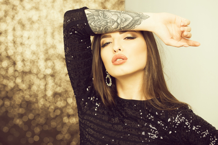 makeup and hair, party and holiday celebration, beauty and fashion Stock Photo