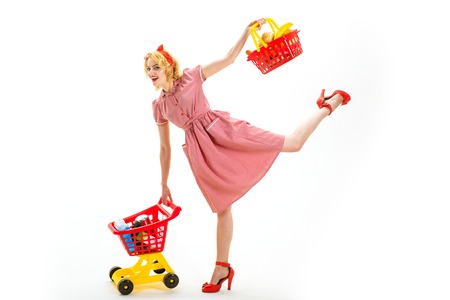 What do you think about this. Young and carefree. After day shopping. big sale in shopping mall. vintage woman go happy retro woman go shopping. shopping in mall with products. savings on purchases Banco de Imagens