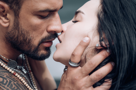Sensual couple kiss. I Love You. Couple In Love. Romantic and love. Intimate relationship and sexual relations. Dominant man. Closeup mouths kissing. Passion and sensual touch. Stock Photo