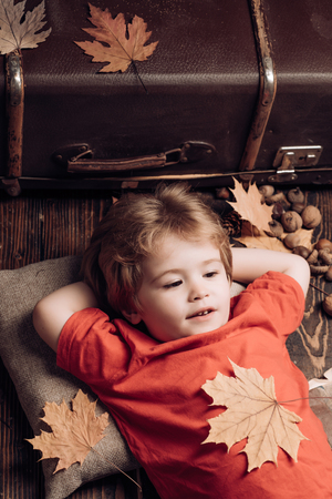 Blonde little boy resting with leaf on stomach lies on wooden floor in autumn leaves. Little child boy lies on a warm blanket dreams of warm autumn. Kid playing in autumn.