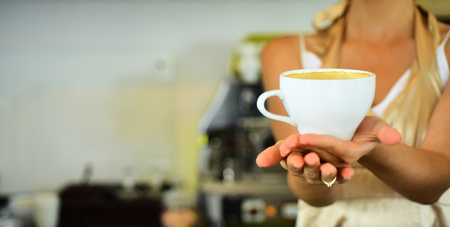 Nice morning. relax in cafe or coffee shop and drink. perfect morning with best coffee.fresh morning coffee with milk and cream froth. barista propose americano or espresso coffee cup, copy space Banco de Imagens