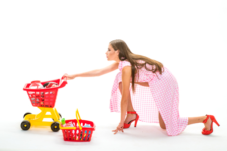 Satisfied with her shopping. It is perfect. Family shopping online. retro woman hurrying to buy products. modern businesswoman go shopping. multifunctional woman. fashion girl make daily tasks.