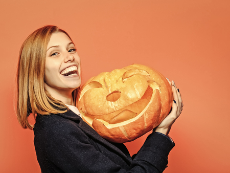 Halloween woman with happy face. Stock Photo