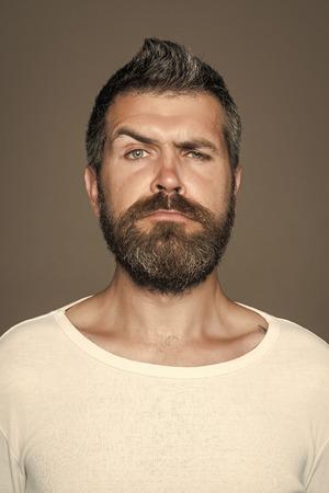man with long beard on serious face 版權商用圖片