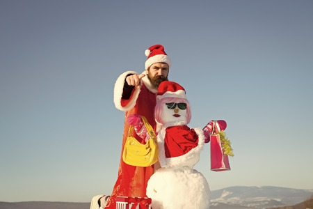Santa man with pointing finger hand Stock Photo