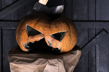 40de14641c7 Halloween demon. Carve out some good times. Demon pumpkin with horror face  and Halloween