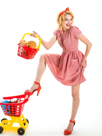 What do you think about this one. happy retro woman go shopping. After day shopping. vintage woman go shopping in mall with products.