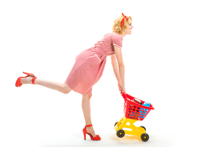 This is for you. woman enjoying online shopping. Open. Going for shopping. I want to buy this. retro woman hurrying to buy products. happy retro girl go shopping. Delighted girl shopping online Stock fotó