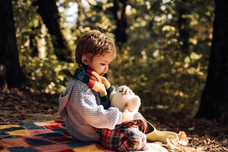 Child love. Atumn fun at the park. Happy kids autumn. Cute boy with Autumn Leaves on Fall Nature Background.