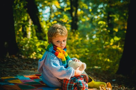 Childrens friendship. Atumn fun at the park. Happy kids autumn. Cute boy with Autumn Leaves on Fall Nature Background. Childhood concept.