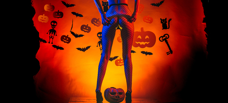 Secrets of Magic for Happy Halloween. Sexy Horror background. Pumpkin with sexy ass. Erotic ladies Halloween concept. Womens clothing store celebrates Halloween. Stockfoto