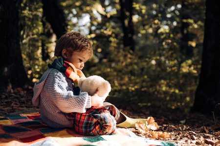 Childhood friendship and first memories. Camping with kids. Stock Photo