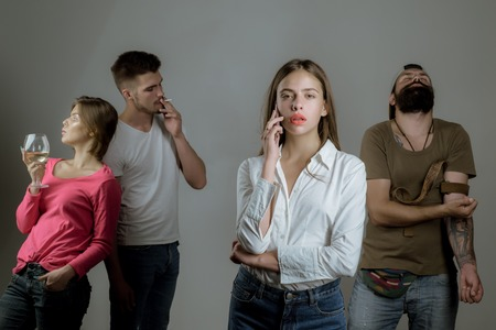 Addicted to social networking. Social Media Today. People hands addicted by mobile smart phone. Stop game addiction. Sad teenage girl with social problems.