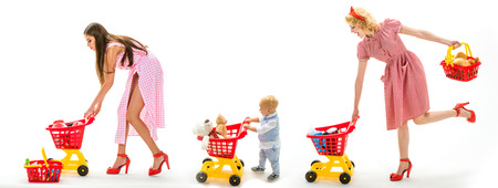 shopping for children. savings on purchases. retro women mothers go shopping with full cart. vintage housewife women with child. childhood and care. Nice purchase. childrens day. Pleasant shopping