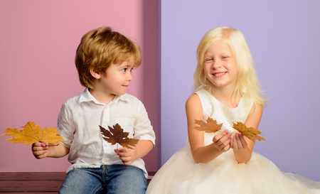 Kids having fun with Leaf fall. Cute children holding gold leaf on colour background.
