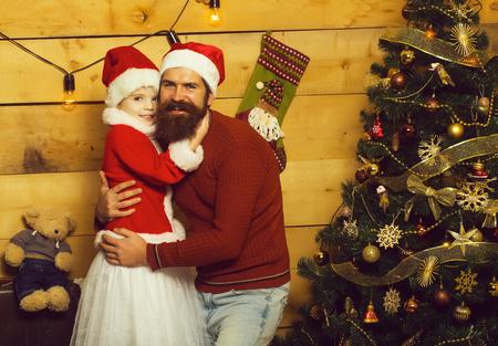 christmas bearded father and girl