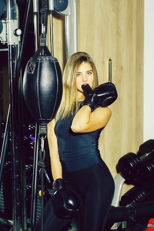 Pretty sexy girl boxer training