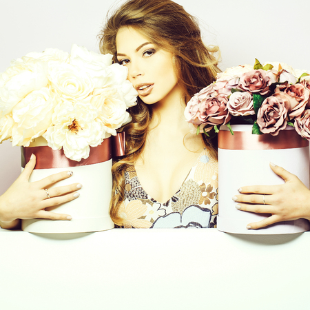 pretty girl with flower boxes Stock Photo