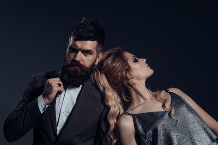 Date night. Couple in love. Bearded man and sexy woman on first date. Couple of man and woman date on valentines day. Happy valentines day. Love cannot be forced