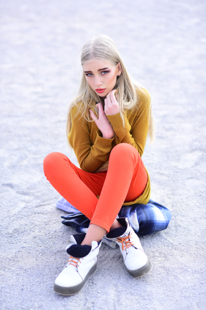 Hipster woman with fashion makeup. Fashion portrait of woman. Beauty and fashion look of vogue model. Hip hop girl with fashionable hair. woman maintaining fashion blog. She is really cute Imagens - 111694651