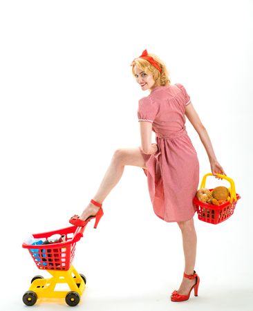 This is for you. happy retro woman go shopping. Full shopping. I have done it. sexy retro woman in shopping mall takes everything under control, copy space. controlling finance and saving on purchase. Stock Photo