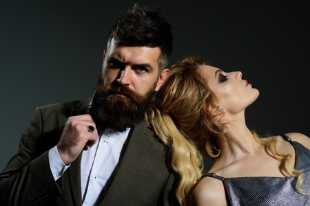 This is my ideal date. Couple of man and woman date on valentines day. Couple in love. Bearded man and sexy woman on first date. Happy valentines day. Lucky in love