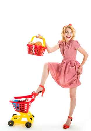 big sale in shopping mall. Family shopping online. Joyful woman enjoying online shopping. savings on purchases. Great day for shopping. This is for you. happy retro woman in shop mall
