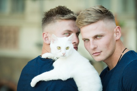 Muscular men with cute cat. Happy cat owners on walk with pet. Twins men hold pedigree cat. Happy twins with muscular look. Cat is a part of their family Banque d'images - 111836358