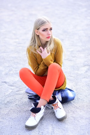 woman maintaining fashion blog. Hip hop girl with fashionable hair. Funky style beauty. Fashion portrait of woman. Beauty and fashion look of vogue model. Hipster woman with fashion makeup