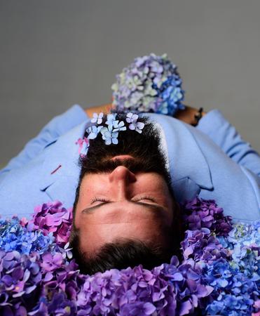 Spring flower allergy. Funeral ritual service. Morgue - last sleep concept. Allergy concept. Stock Photo