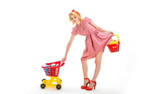 vintage woman go shopping in mall with products. consumerism - social and economic order.