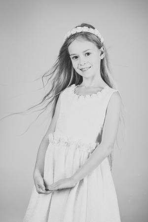 little princess in white dress. little princess girl Stock Photo