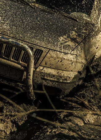 Fragment of car stuck in dirt on sunny autumn day Stock Photo