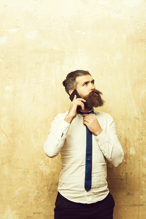 businessman or bearded man with long beard speaking on phone