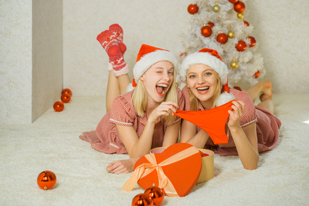 Merry xmas and happy new year. Santa on holiday, new year. New year presents Stock Photo