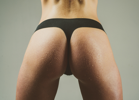Female sexy ass in black bikini close up. Lingerie model on gray background. Closeur sexy butt. Big sexy ass of beautiful girl. Womans sexual lingerie. Slim woman dressed in black panties.