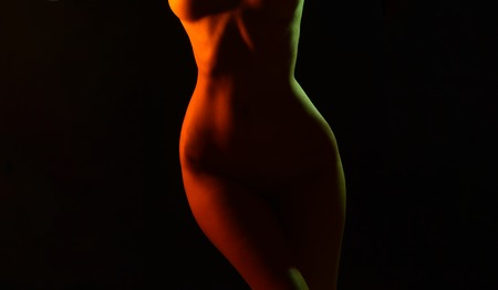 Sensual womans hips. Sexy hips silhouette. Naked sensual beautiful girl. Sensual colorful photo womans hips. Copy sapce. Banco de Imagens - 112408083