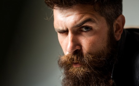 Closeup man portrait. Man face. Handsome bearded man. Sad or stress man. Hipster. Stockfoto
