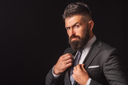 Rich bearded man dressed in classic suits. Elegance casual dress. Fashion suit. Luxury mens clothing. Man in suit. Businessman confidence. Classical costume. Mans Fashion.
