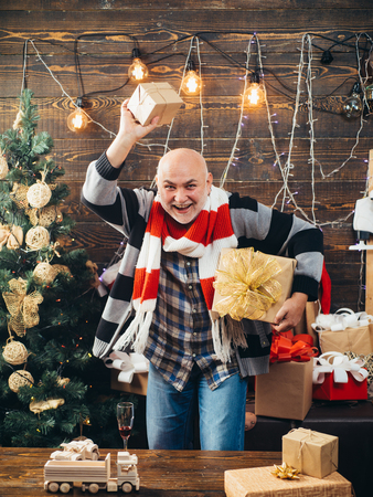 Santa claus in home. Merry christmas and Happy new year. Man smile christmas. Stock Photo