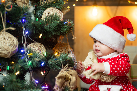 Cute little kids celebrating Christmas. kiddy. Happy child with christmas gift. Stok Fotoğraf