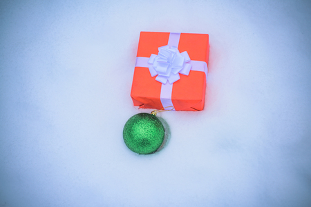 Christmas gifts on snow background. Christmas Day, Christmas Eve. New year background. Stock Photo